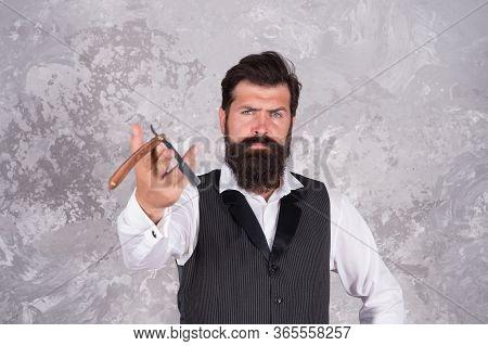 Got To Shave. Specialized In Classic Shave. Bearded Man Hold Retro Razor. Shaving Razor Kit For Men.