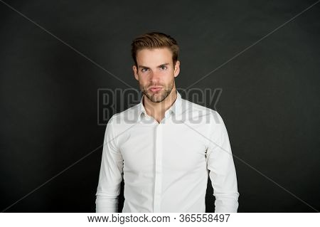 Middle Chain Management. Menswear Formal Style. Handsome Office Worker. Man Formal Shirt. Formal Fas