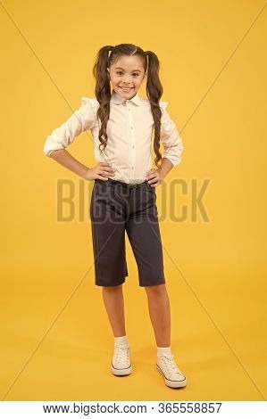 Ready For Lesson. School Fashion. International Childrens Day Concept. Modern Schoolgirl. Schoolgirl