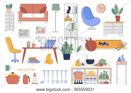 Set Of Illustrations Of Interior Details And Household Items Illustrations With Editable Stroke