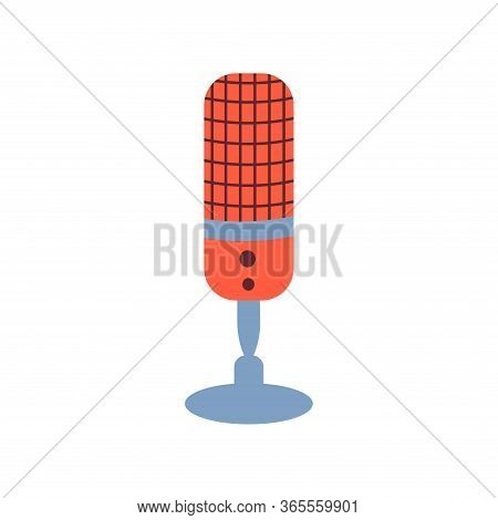 Microphone Sign. Listening To The Radio, Podcast. Media Hosting Vector Illustration