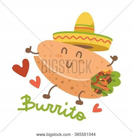 Burrito In Mexican Hat Sombrero. Cartoon Food Character. Isolated Image On White Background. Comic T