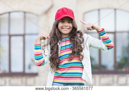 Have A Look Here. Happy Girl With Beauty Look. Vogue Look Of Small Fashion Model. Beauty And Fashion
