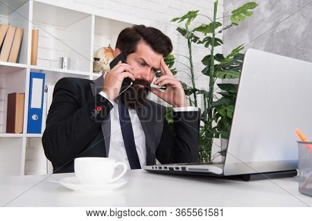 Busy Lifestyle. Busy Businessman Talk On Phone. Bearded Man Work In Office. Busy Work Or Business. B