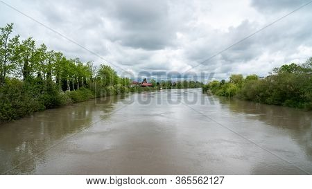 River Rioni In Little Town Of Poti, Landscape