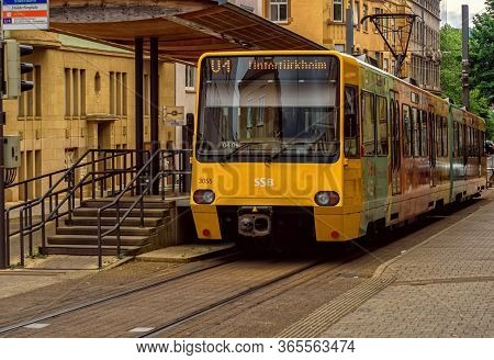 Stuttgart,germany - May 01,2020:hoelderlinplatz This Is A Small Tram Station Of The Ssb Line U4,whic