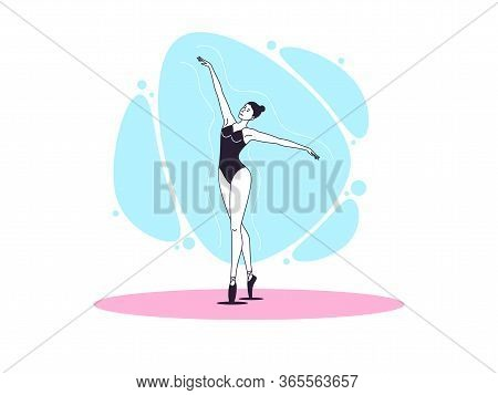 Graceful Ballerina Woman In Outline Minimalist Style. Ballet Dancer With Flying Hands. Ballet Postur