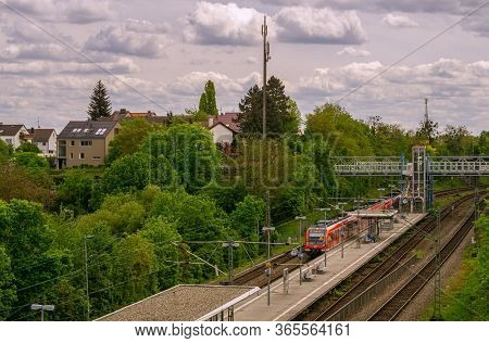 Stuttgart,germany - April 03,2020:oesterfeld This Is A Small Train Station Near The Border To Vaihin
