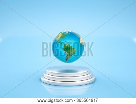 Earth globe planet is floating in the air above silver pedestal, over blue background. 3D render.