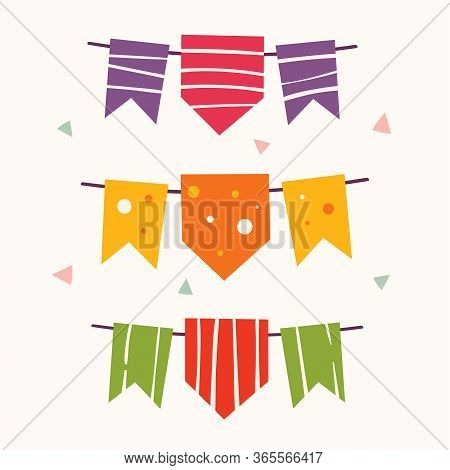 Little Funny Cute Cartoon Colourful Holiday Flags. Mexican National Decoration. Festival.  Fiesta. L