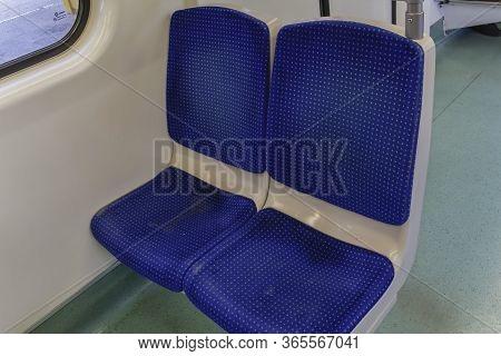 Athens, Greece - October 28 2017: Empty Metro Wagon Seats Interior Without Passengers. Blue Seats Wi
