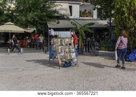 Athens, Greece - October 28 2017: Street Vendor With Greek Lottery Payslips. Day View Of Unidentifie