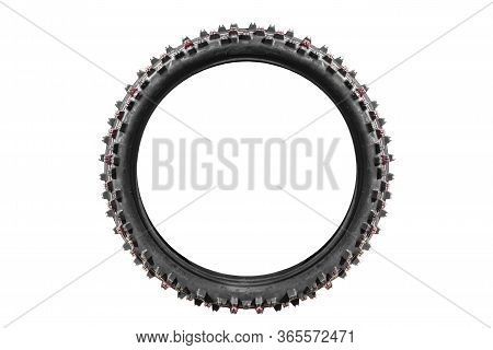 New Motorcycle Wheel Tire On A White Background