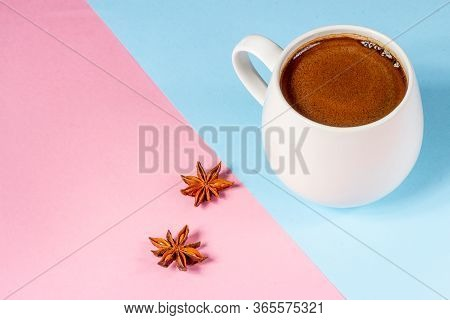 Black Coffee In A White Mug On A Pink And Blue Background