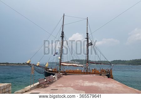 Rovinj, Croatia - August 30, 2007: Colorful Wooden Ship, The Pirate Galleon, Docked At The Pier Near