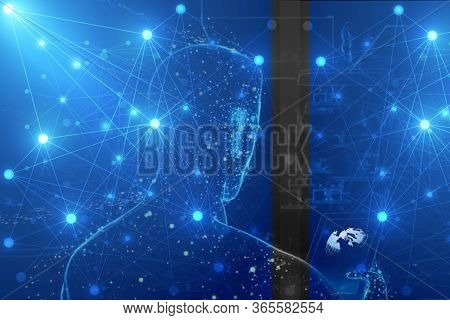 Network, Global Network Connection And Data Exchanges, Global Communication Network Concept. Automat