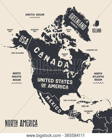 Map North America. Poster Map Of North America. Black And White Print Map Of North America For T-shi