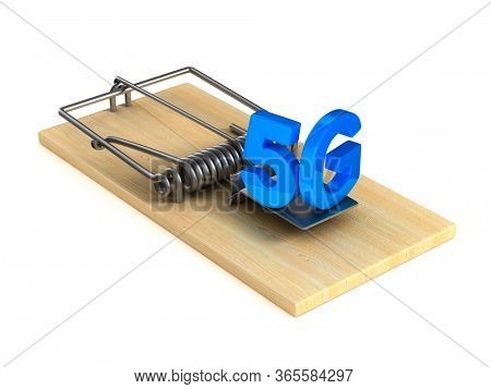 5G and mousetrap on white background. Isolated 3D illustration