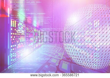 Concept Of Digital Connection And Transactions Connectivity In Server Room. Virtual Network With Mat