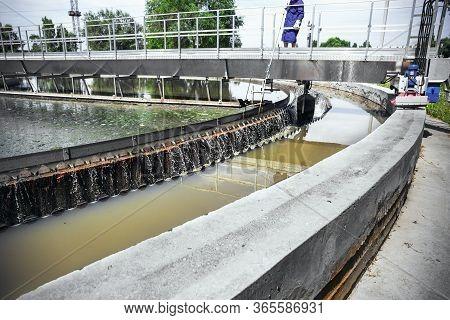 Urban Wastewater Treatment Plant, Round Sedimentation Tank, Toned.