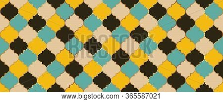 Ramadan Traditional Golden Mosque Motif. Seamless Moroccan Mosaic Design. Iranian Mosque Window Tile