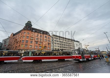 Brno, Czechia - November 5, 2019: Two Trams Crossing Each Other Fast, With Speed Blur, On Nadrazni,