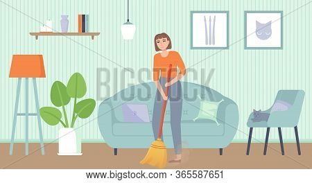 Girl Sweeping Floor. Home Chores, Household Duties, Cleaning, Concept. Stock Vector Illustration In