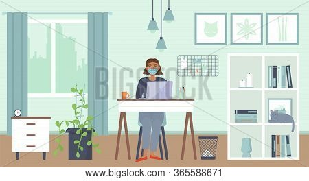 African American Woman Sitting With Laptop At Home With Mask. Cozy Interior. Home Office, Working Ho