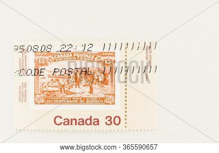 Seattle Washington - May 10, 2020:  Champlain's Departure Stamp Of 1908 On 1982 Youth Exhibition Sta