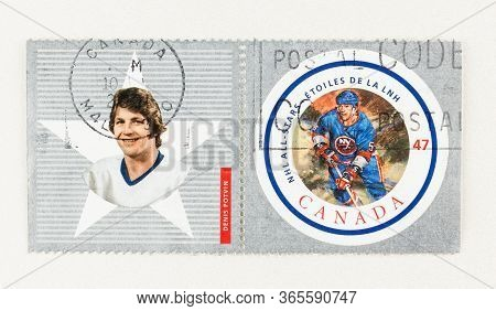 Seattle Washington - May 10, 2020:  2001 Double Stamp Featuring Denis Potvin, An Nhl All Star Game P