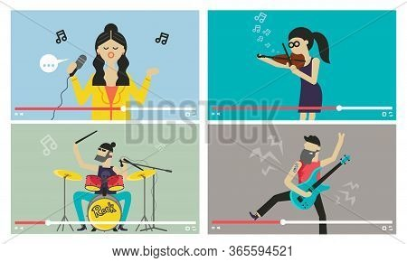 Musicians People. Videostream Of Music Festival And Entertainment Event Vector Illustration. Girl Si