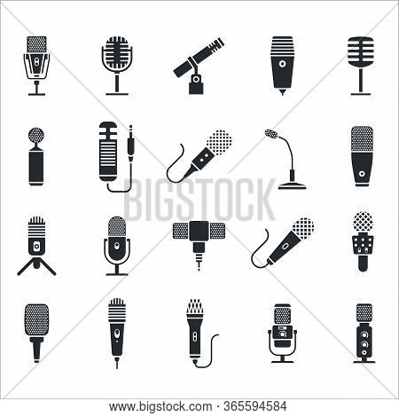 Mic Icon. Radio And Music Microphone Icon Set. Modern Voice Mike And Retro Radio Mic Stand On White