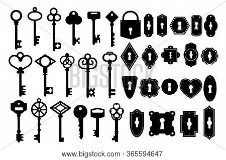 Key Silhouette. Vintage Key Skeleton And Keyhole Silhouette Vector Set. Heart Shape Black Key Isolat