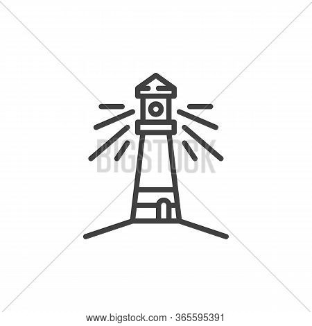 Lighthouse Line Icon. Linear Style Sign For Mobile Concept And Web Design. Beacon Tower, Lighthouse