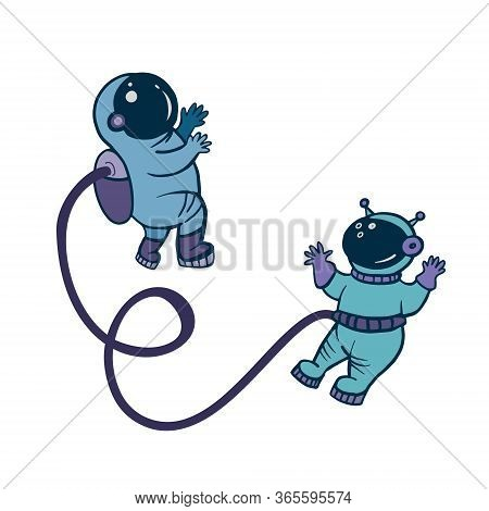 Astronauts. Astronauts In Space. People In Space. Vector Color Illustration In Cartoon Style.