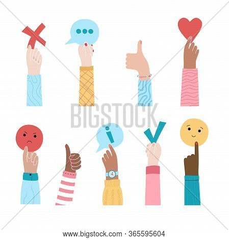 Vector Isolated Illustration Of Hands Holding Feedback Symbols. User Experience And Customer Review