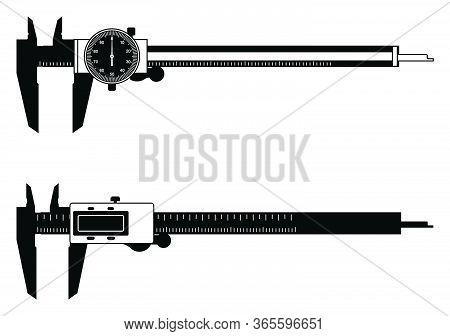 Vernier Caliper. Dial And Digital Indicator. Vector Illustration