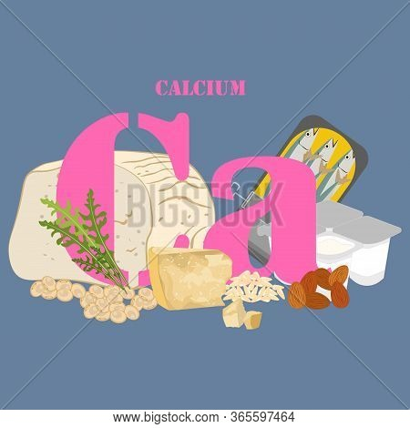 Calcium Rich Foods Illustration On The Blue Background. Vector Illustration