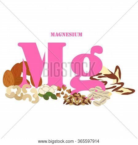 Magnesium Rich Foods Illustration On The White Background. Vector Illustration
