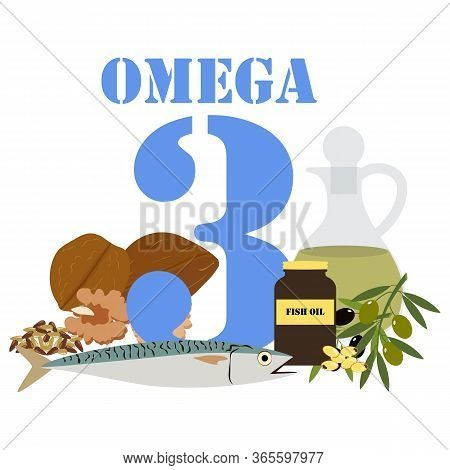Omega 3 Illustration On The White Background. Vector Illustration