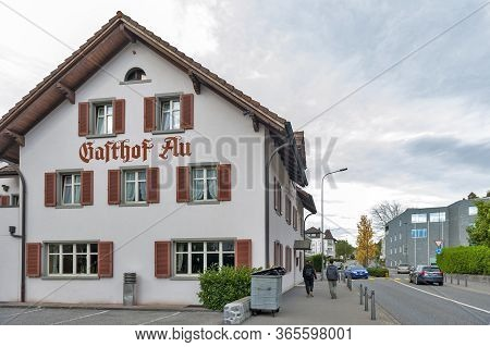 Vaduz, Liechtenstein - October 2019: Building Exterior Of Gasthof Au, One Of The Oldest Restaurants