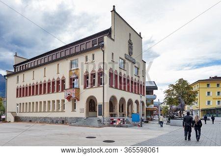 Vaduz, Liechtenstein - October 2019: Building Exterior Of Vaduz Town Hall, Head Office Of Vaduz Muni