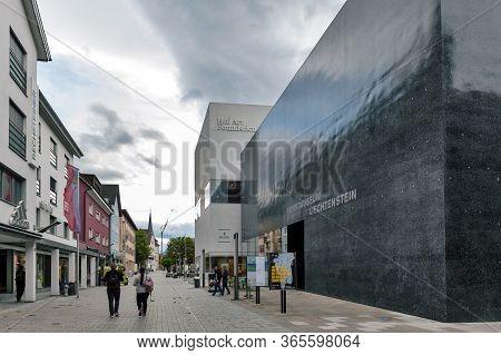 Vaduz, Liechtenstein - October 2019: Building Exterior Of The Kunstmuseum Liechtenstein (liechtenste