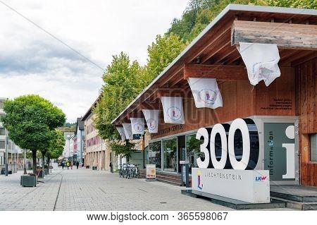 Vaduz, Liechtenstein - October 2019: The Lightbox Showing Number 300 Installed In Front Of The Liech