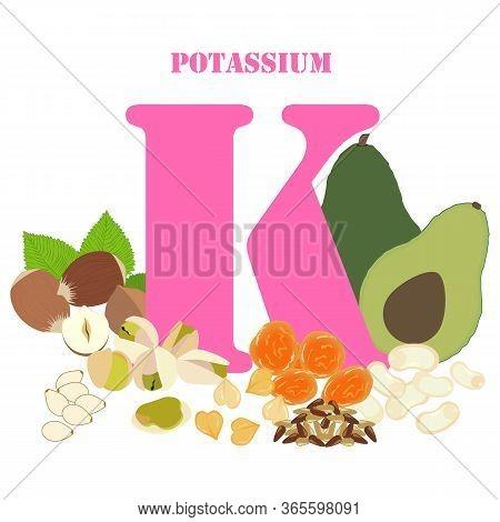 Potassium Rich Foods Illustration On The White Background. Vector Illustration