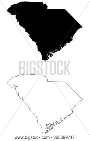 South Carolina Sc State Map Usa. Black Silhouette And Outline Isolated Maps On A White Background. E
