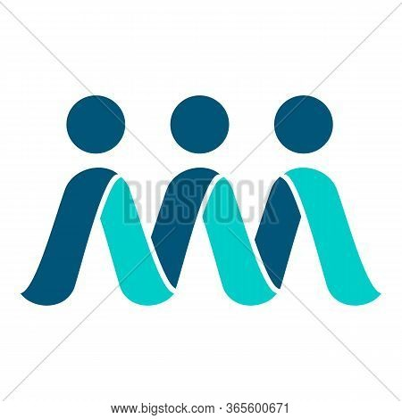 New Abstract 3 Three People Logo Template Vector Design. .the Concept Of People Unity Community Symb
