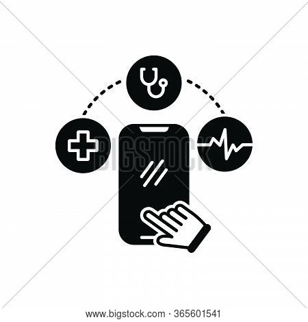 Black Solid Icon For Mhealth Online Cellphone Record Prescription