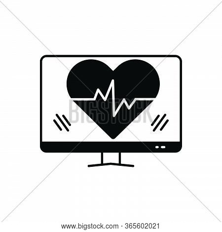 Black Solid Icon For Ehealth Healthcare Heartbeat Heart Pulse