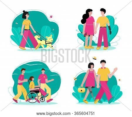 Set Of Handicapped People Walking Flat Cartoon Vector Illustration Isolated.